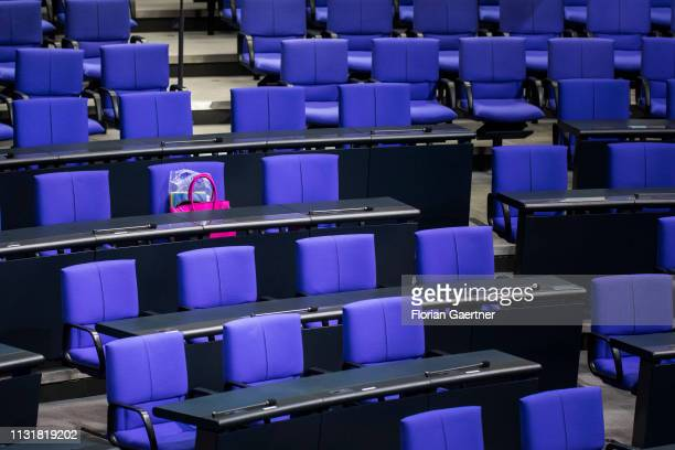 Pink handbag on a seat of the German Bundestag is pictured on March 21, 2019 in Berlin, Germany.