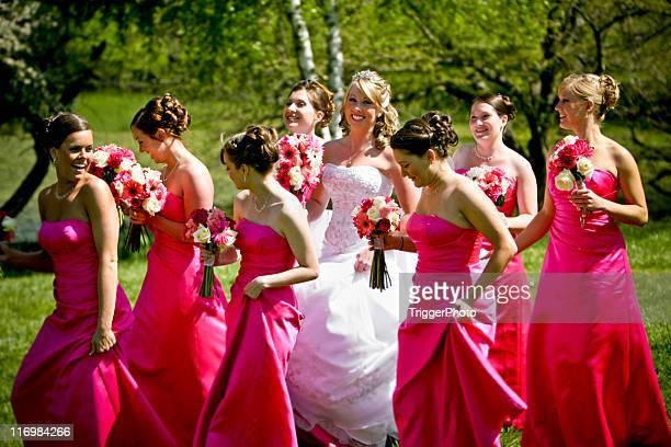 Pink Happy Bride and Bridesmaids Wedding Dress
