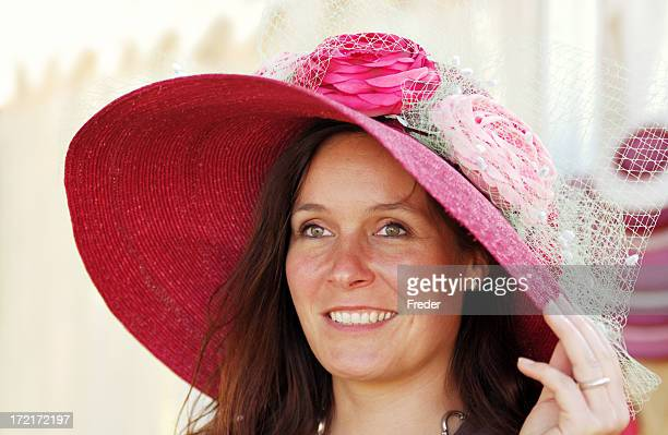 pink hat lady - easter bonnet stock pictures, royalty-free photos & images