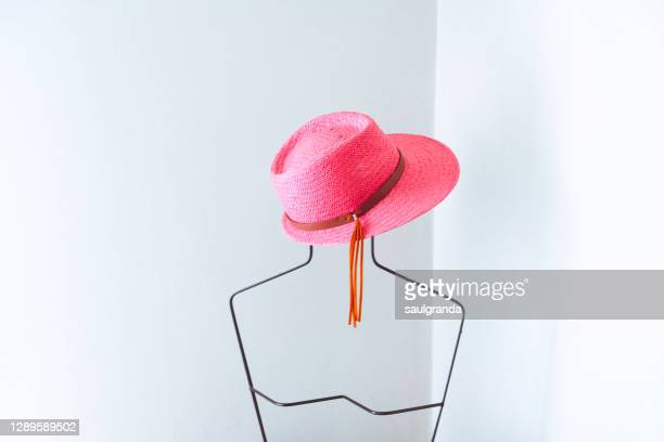 pink hat on a metallic mannequin - pink hat stock pictures, royalty-free photos & images