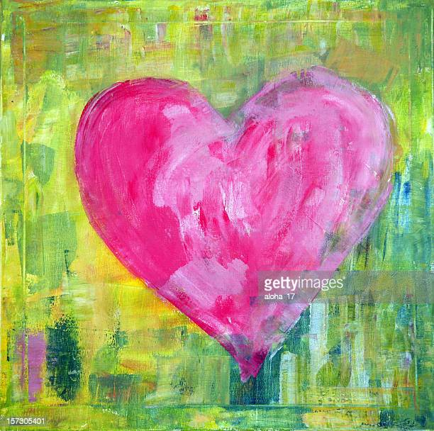 pink heart - acrylic painting stock photos and pictures