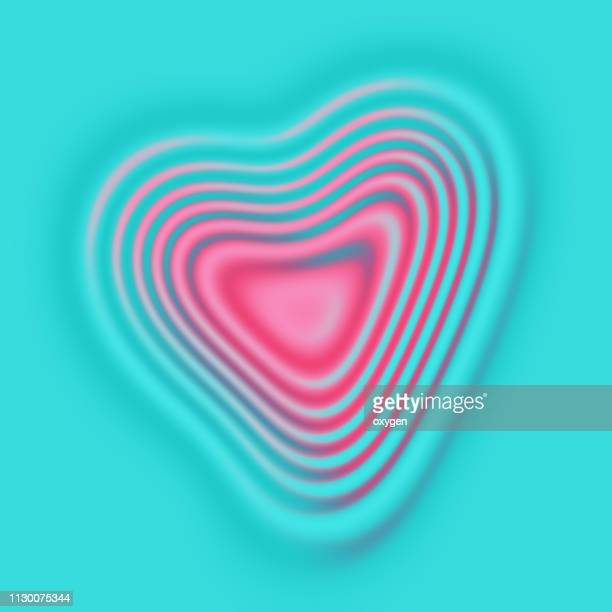 Pink Heart Shape Ripples on aqua