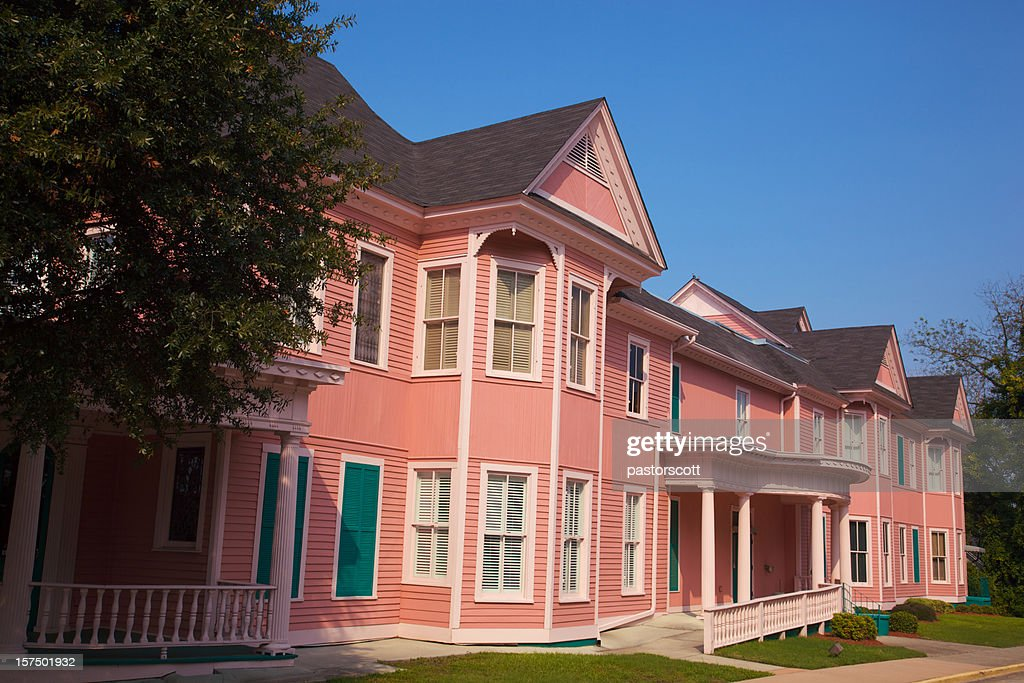 Pink Historic Office Building that Looks Like Apartments : Stock Photo