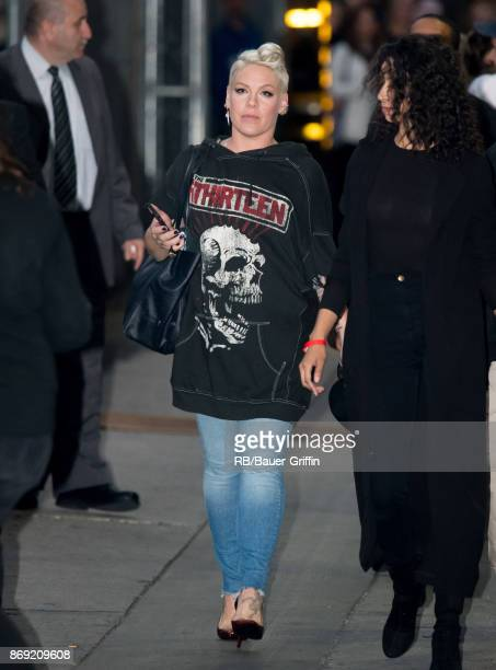 Pink is seen at 'Jimmy Kimmel Live' on November 01 2017 in Los Angeles California