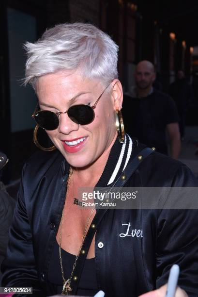 Pink is seen in Manhattan on April 6 2018 in New York City