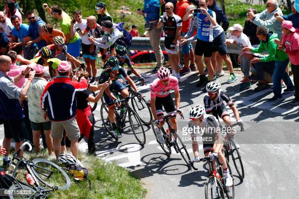 Pink Jersey Netherlands' Tom Dumoulin of team Sunweb climbs the Mortirolo during the 16th stage of the 100th Giro d'Italia Tour of Italy cycling race...