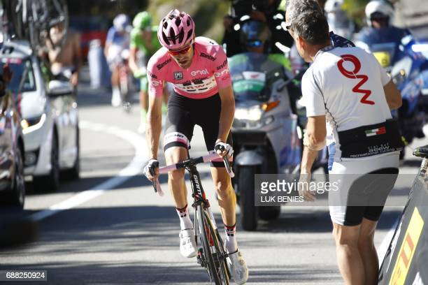 Pink jersey Netherlands' Tom Dumoulin of team Sunweb rides in the last kilometers of the 18th stage of the 100th Giro d'Italia Tour of Italy cycling...