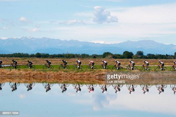 TOPSHOT Pink Jersey Netherlands' Tom Dumoulin of team Sunweb rides in the peloton during the 14th stage of the 100th Giro d'Italia Tour of Italy...