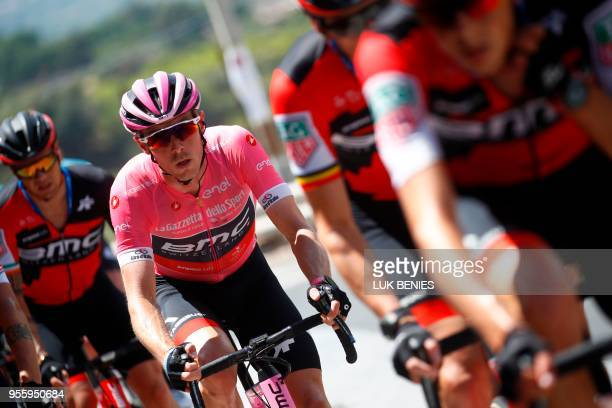 Pink jersey of the overall leader, Australia's Rohan Dennis of team BMC, rides with teammates during the 4th stage between Catania and Caltagirone of...