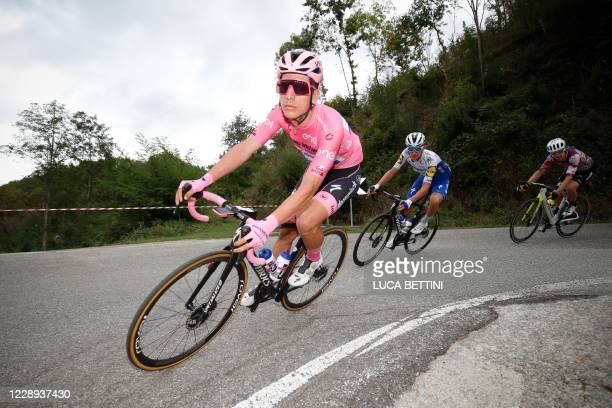 Pink jersey, Team Deceuninck rider Portugal's Joao Almeida rides during the 5th stage of the Giro d'Italia 2020 cycling race, a 225-kilometer route...