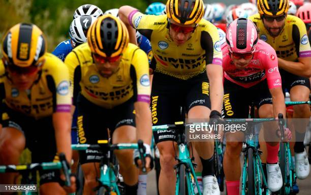 Pink jersey, Team Jumbo rider Slovenia's Primoz Roglic compete during the stage three of the 102nd Giro d'Italia - Tour of Italy - cycle race, 220kms...