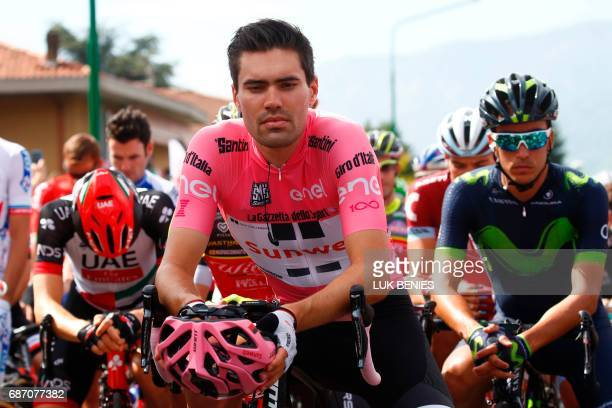 Pink Jersey Tom Dumoulin from Netherlands looks on before the start of the 16th stage of the 100th Giro d'Italia Tour of Italy cycling race from...