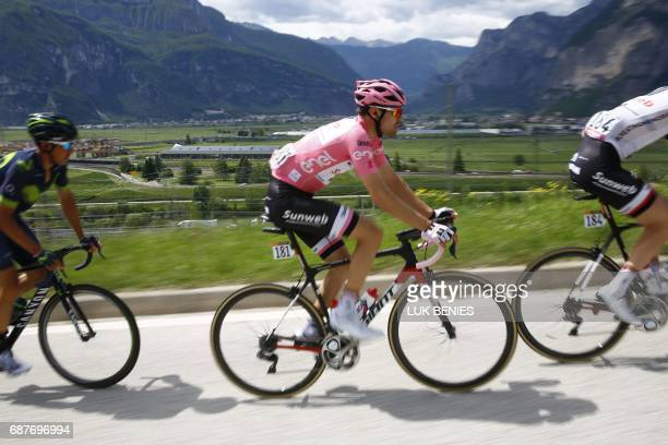 Pink Jersey Tom Dumoulin from Netherlands rides during the 17th stage of the 100th Giro d'Italia Tour of Italy cycling race from Tirano to Canazei on...
