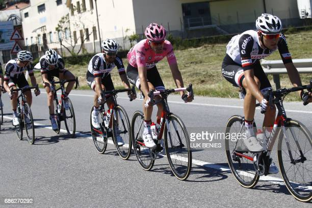 Pink Jersey Tom Dumoulin from Netherlands rides with teammates during the 15th stage of the 100th Giro d'Italia Tour of Italy cycling race from...