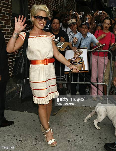 Pink leaves The Late Show with David Letterman July 20 2006 in New York City