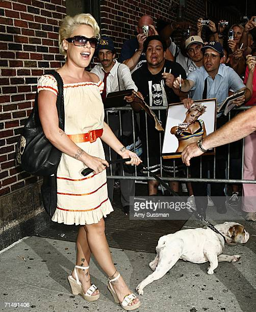Pink leaves with a dog The Late Show with David Letterman July 20 2006 in New York City