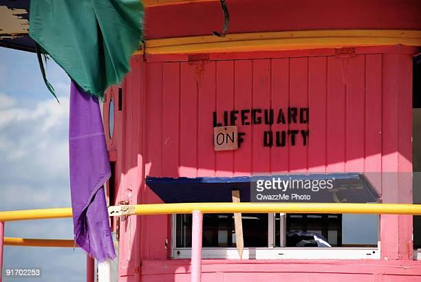 Pink lifeguard station, on duty