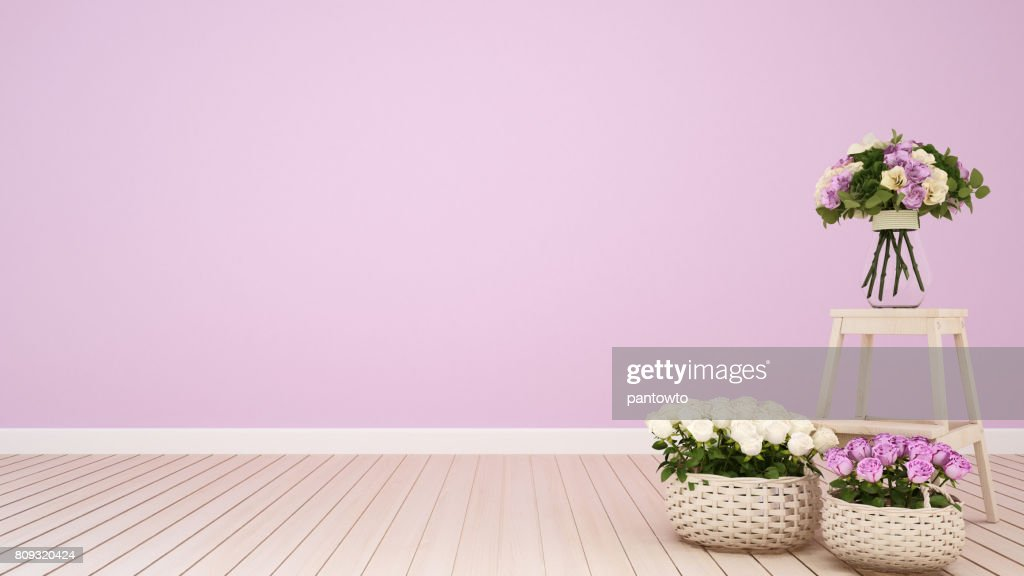 Pink Living Room Or Coffee Shop Decoration Flower 3d Rendering Stock ...