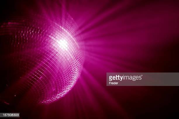 pink mirrorball - disco ball stock photos and pictures
