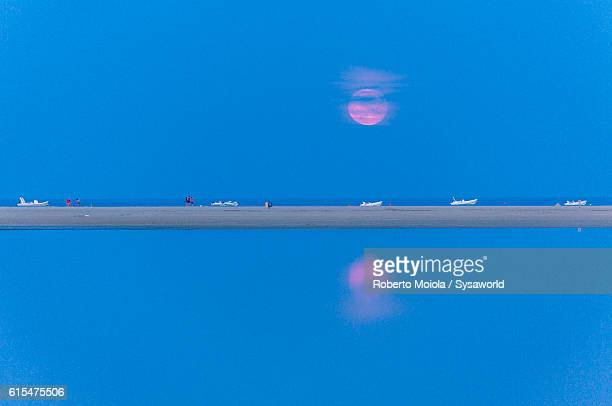 pink moon villasimius sardinia italy - pink moon stock pictures, royalty-free photos & images