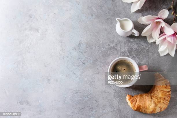 Pink mug of black espresso coffee french bake croissant cream and spring flowers magnolia branches over grey texture background Top view copy space...
