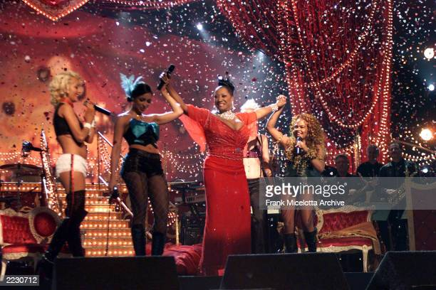 Pink Mya Lil' Kim and Christina Aguilera with Patti LaBelle performing Lady Marmalade at the 44th Annual Grammy Awards at the Staples Center in Los...