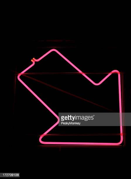 Pink Neon Arrow Sign on Black Background