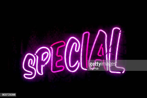 """special"" pink neon sign - single word stock pictures, royalty-free photos & images"