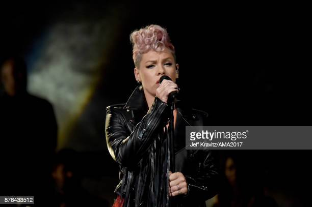 Pink onstage during the 2017 American Music Awards at Microsoft Theater on November 19 2017 in Los Angeles California