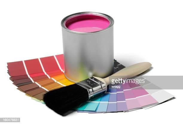 Rosa Farbe und Pinsel