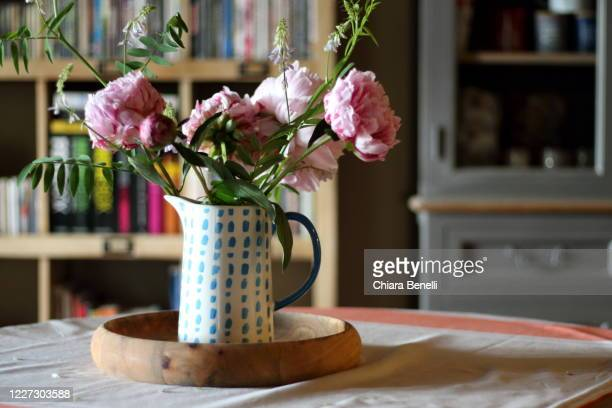 pink peony in a jug - vase stock-fotos und bilder