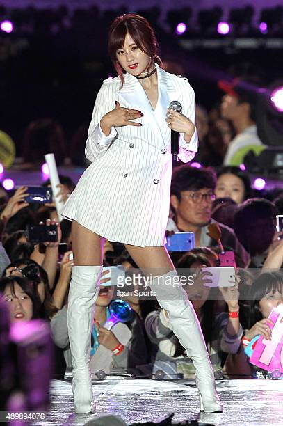 A pink perform onstage during the 2015 Hallyu Dream Festival at Gyeongju Civic Stadium on September 20 2015 in Gyeongju South Korea