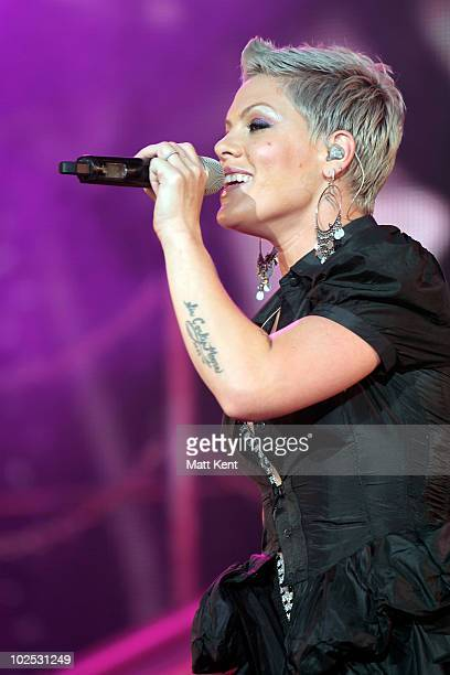Pink performs at Portman Road on June 29 2010 in Ipswich England