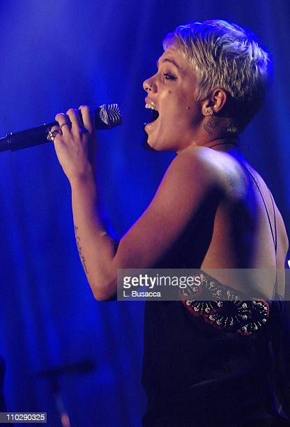 Pink performs during 2007 Clive Davis PreGRAMMY Awards Party Show at Beverly Hills Hilton in Beverly Hills California United States