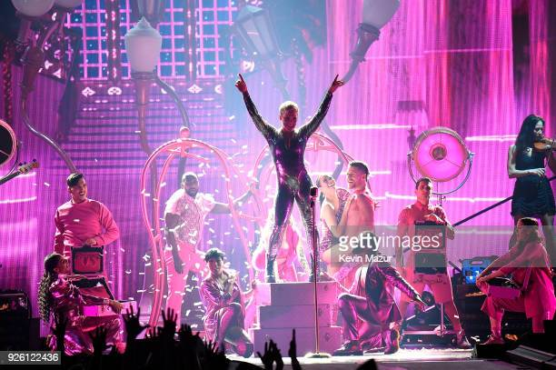 Pink performs during her Beautiful Trauma world tour opener at Talking Stick Resort Arena on March 1 2018 in Phoenix Arizona