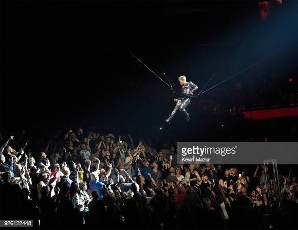 Pink performs during her 'Beautiful Trauma' world tour opener at Talking Stick Resort Arena on March 1 2018 in Phoenix Arizona
