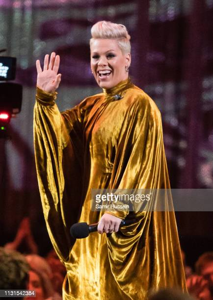 Pink performs during The BRIT Awards 2019 held at The O2 Arena on February 20 2019 in London England