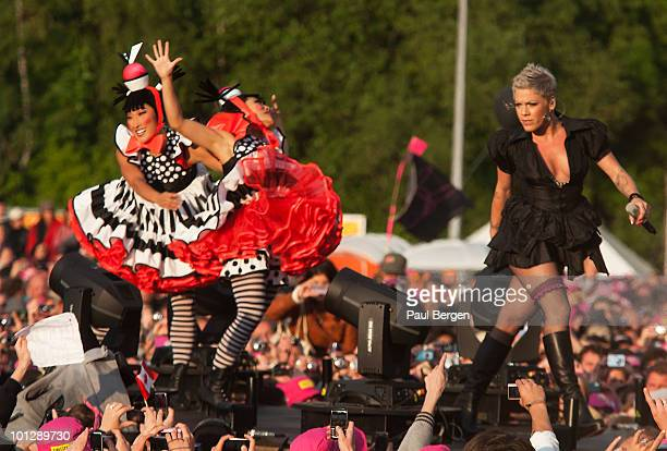 Pink performs during the third and final day of Pink Pop Festival on May 30 2010 in Landgraaf Netherlands