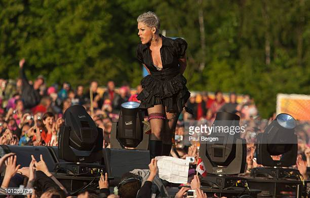 Pink performs during the third and final day of Pinkpop Festival on May 30 2010 in Landgraaf Netherlands