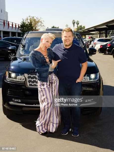 Pink performs in a Carpool Karaoke with James Corden during 'The Late Late Show with James Corden' Tuesday November 14 2017 On The CBS Television...