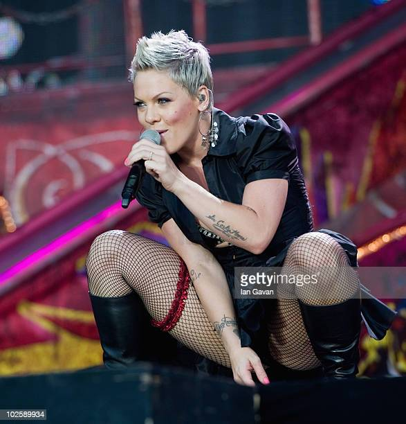 'Pink' performs live on the Main Stage during the Wireless Festival in Hyde Park on July 2 2010 in London England
