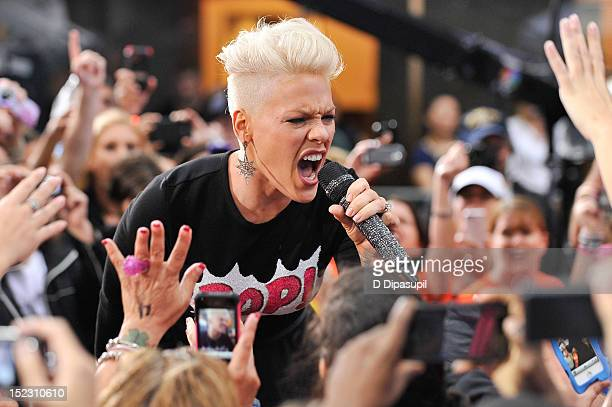 "Pink performs on NBC's ""Today"" at Rockefeller Plaza on September 18, 2012 in New York City."