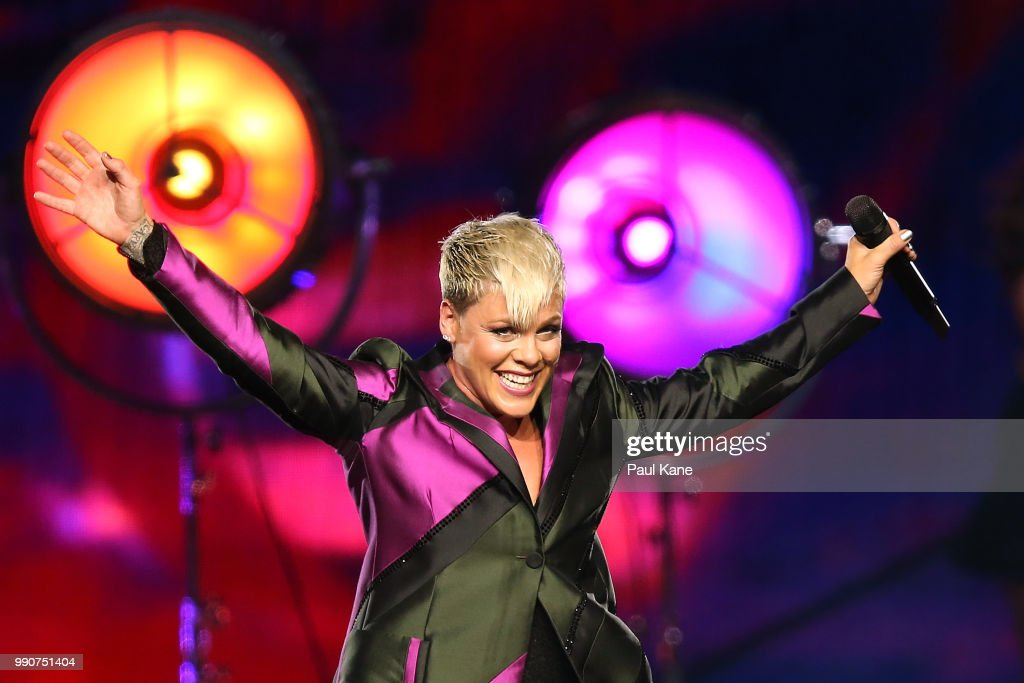 Pink performs on stage at Perth Arena on July 3, 2018 in Perth, Australia.