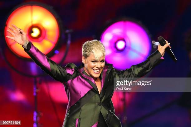 Pink performs on stage at Perth Arena on July 3 2018 in Perth Australia