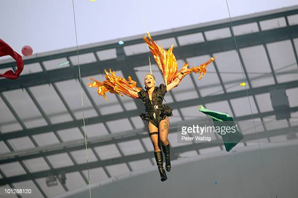 Pink performs on stage at the Rheinenergiestadion on May 29 2010 in Cologne Germany