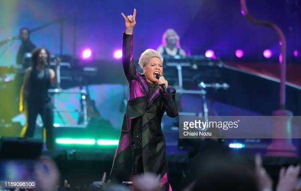 Pink performs on stage at Wembley Stadium on June 29 2019 in London England