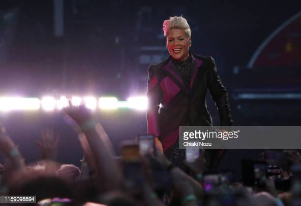 Pink performs on stage at Wembley Stadium on June 29, 2019 in London, England.