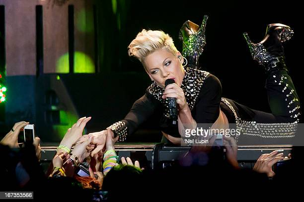 Pink performs on stage in concert as part of her Truth About Love Tour at O2 Arena on April 24 2013 in London England