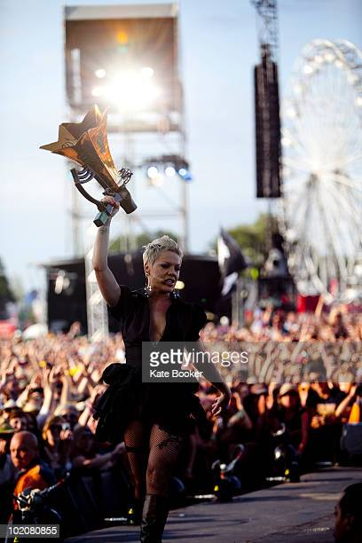 Pink performs on stage on the last day of Isle OF Wight Festival at Seaclose Park on June 13 2010 in Newport Isle of Wight