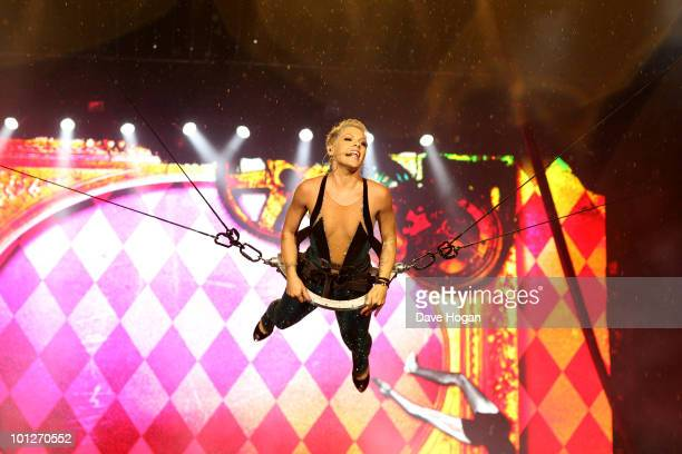 Pink performs on the first night of her allnew 'Funhouse Summer Carnival' tour at the RheinEnergie Stadion on May 29 2010 in Cologne Germany The show...